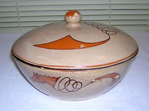 Vintage Folk Art Redware Red Clay Pottery Mexican Painted Horses Covered Bowl