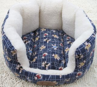 100 Cotton Handmade Leopard Print Pet Dog Cat Bed House Round Square s M L