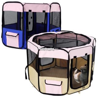"48"" Soft Pet Playpen Exercise Pens Puppy Dog Cat Play Kennel Folding Crate ES9P"