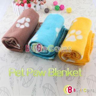 Hot Cute Soft Handcrafted Cozy Warm Paw Prints Pet Dog Cat Fleece Blanket Mat