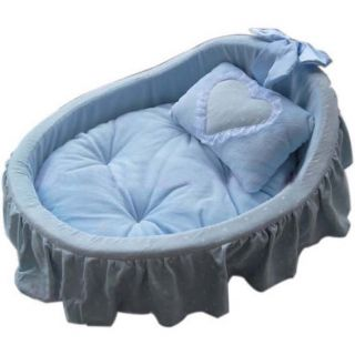 Princess Pet Dog Cat Bed House Basket Pink Blue Pillow