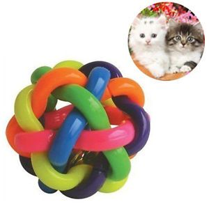 Pet Roller Ball Dog Cat Chew Plastic Treat Fetch Toy Squeaker Hollow Bell Bouncy
