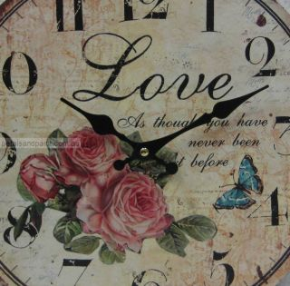 34cm Rustic French Provincial Country Love Butterfly Wall Clock Large Numbers