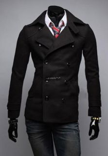 Men's Slim Fit Double Breasted Strap Trench Casual Coat Long Jacket Overcoat