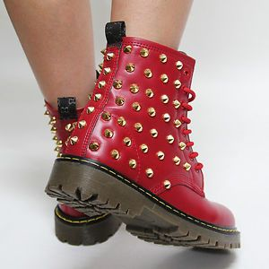 Womens Red Gold Silver Studded Zip Combat Boots Ladies Military Biker Shoes