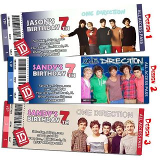 One Direction Invitation Custom Birthday Party Ticket