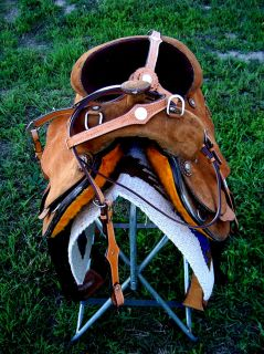 "17"" Western Leather Training Trail Pleasure Saddle Tack"