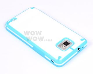 Sky Blue White Candy PC TPU Back Cover Case for Samsung Galaxy S2 SII I9100