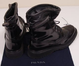 Prada Shoes $925 Black Patent Deerskin Wing Tip Lace Up Combat Boot 10 5 43e New