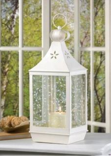12 Large White Garden Pillar Lanterns Ivy Vine Design Glass Wedding Centerpieces