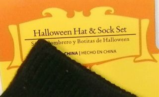 New Baby's 1st Halloween Black Cat Hat Cap Sock Set Size 0 6 Months Unisex