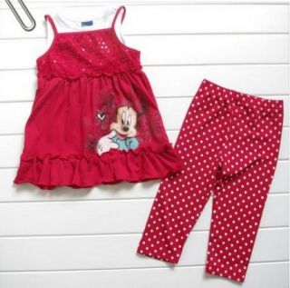 Girls Kids Disney Minnie Mouse Costume Top T Shirt Pants Dress Set Outfit S2 5Y