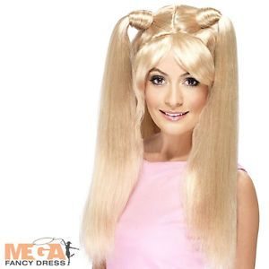 Baby Spice Girl Blonde Pig Tail Wig Fancy Dress 1990s 90s Costume Pop Star Wig