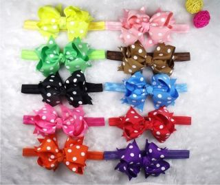 "4"" 10 10 Nice Baby Girl Dot Ribbon Costume Boutique Hair Bow Silk Headband K2"