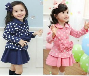 Girl Baby Kids Coat Top Skirt Dress 2 Piece Outfit Set S1 6Y Lovely Costume