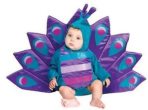 Infant Peacock Costume Bird Fancy Dress Pea Cock Baby Girls Childs Kids 6 24M