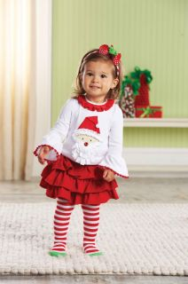 Mud Pie Christmas Baby Infant Girls Santa Tab Skirt Tights Set 0M 12M 18M 2T 3T