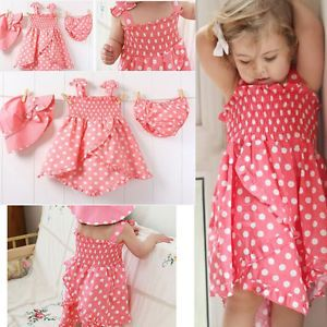 3pcs Kid Infant Baby Girl Dress Pants Hat Set Outfit Costume Clothes 0 12M
