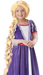 Rapunzel Wig Child Pageant Girls Long Braid Blonde Tangled Princess Costume