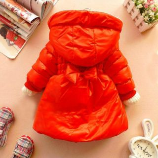 New 2 6 Years Baby Girl Kids Clothes Winter Coat Orange Pink Red Jacket Gown