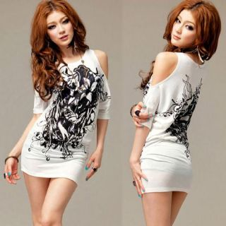 Girls Korea Women Off Shoulder Tops T Shirt Mini Dresses White