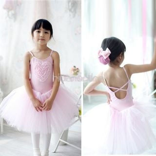 Girl Kid Pink Ballet Dress Tutu Skirt Leotard Costume Dance Party Wedding Sz 4 8