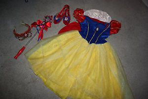 Disney Princess Snow White Dress Up Costume Set Size 4 6X Crown Wand Shoes