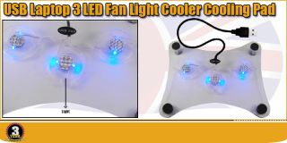 USB 2 0 3 Fans LED Light Cooler Cooling Pad Tray for Laptop Nootbook Sony PS3 UK
