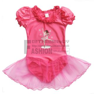 Girl Kids Short Sleeve Ballet Dance Dress Tutu Leotard Costume 3 6 Years Clothes