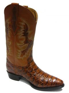 Men's Cognac Brown Leather Anaconda Snake Cowboy Boots Western Exotic Rodeo