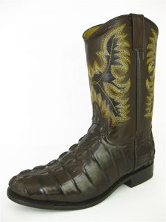 Men's Brown Leather Crocodile Alligator Tail Roper Cowboy Boots Western Rodeo