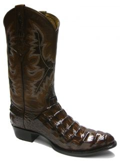 Men's Brown Alligator Crocodile Back Cut Cowboy Boots Western Exotic Rodeo