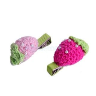 Baby Toddler Girl Lovely Crocheted Strawberry Hair Clip Green Hot Pink