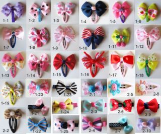Girls Baby Kids Children Hair Accessories Bows Snaps Alligator Clips Slides