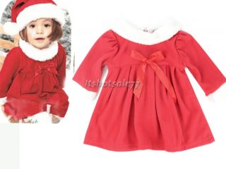 New Baby Girl Christms Xmas Santa Party Suit Hot Costume Dress Coat Hat Outfit