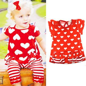 Kids Baby Girls Top Pants 2pcs Outfits Red Hearts Striped Costume Clothes 0 3Y