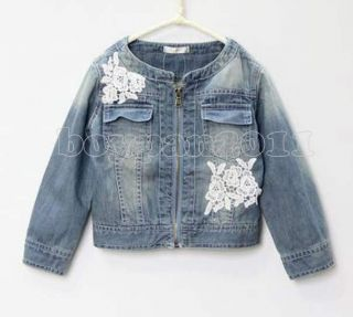 New Kids Toddlers Girls Long Sleeve Short Lace Jean Coats Jackets sz2 7yrs