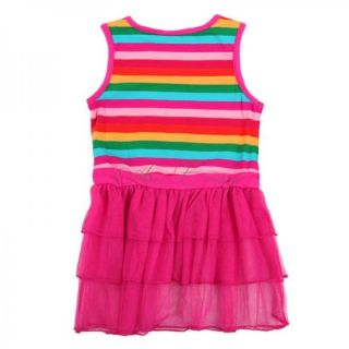 Peppa Pig Girls Rainbow Stripes Top Dress Pink Tulle Tutu Skirt Sundress 18M 6