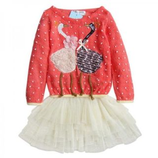 1pc Kid Baby Girl Swan Dress Knit Top Tulle Skirt Tutu Costume Clothing 2T 4T