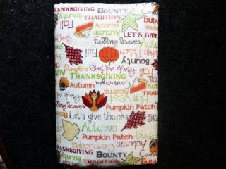 Thanksgiving Fall Leaves Acron Turkey Vinyl Tablecloth Flannel Back All Sizes