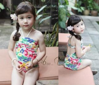 Girls Kids Floral Halter Swimsuit Swimwear Tankini Bikini Swimming Costume 2 7Y