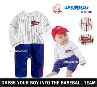 3 27m Baby Toddlers Boy Baseball Costume Outfit Set Clothes Sporty Cool