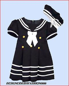 SL1 Navy Nautical Sailor Flower Girl Dress Costume Size s M L 2T 3 4T