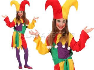 Kids Girls Jolly Jester Clown Fancy Dress Up Costume