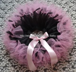Pink Black Party Costume Ballet Girl Toddler Baby Tutu Skirt 0 5T
