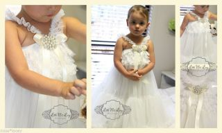 Baby Girl Lace Petti Dress Wedding Christening Ivory Flower Girl Vintage Pearl