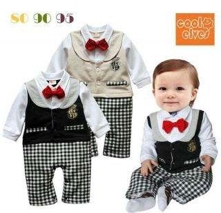 Boy Baby Toddler Infant Newborn Romper Jumpsuit Bowtie Party Clothing 0 24M