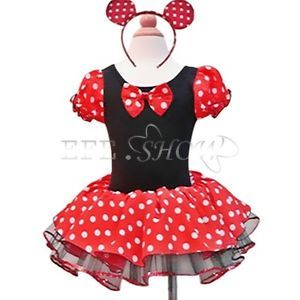 Girls Polka Dot Xmas Minnie Mouse Costume Tutu Skirt Toddler Holiday Dress Up 2T