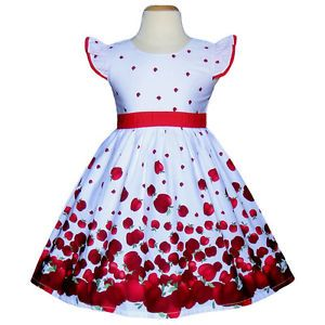 White Red Apples Baby Toddler Girls Dresses Kids Clothing Summer Party Size 3T