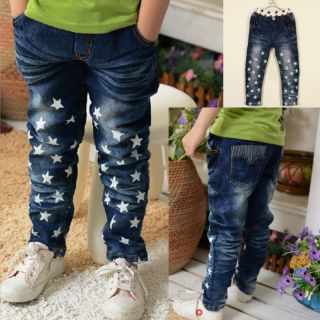 Boys Girls Kids Costumes Baby Jeans Skinny Pants Blue Denim Trousers Size 3T 8T